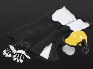 Kit de protection : jambières + casque + gants
