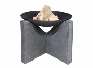brasero - cheminée d'extérieur Escchert Design Jardideco - socle en granit