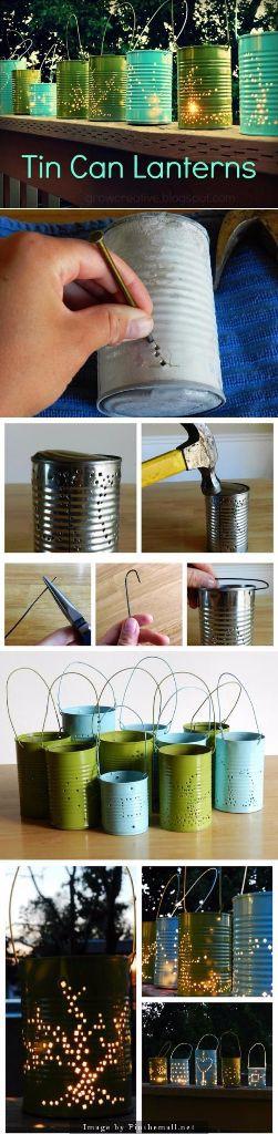 DIY Photophores avec boites de conserves