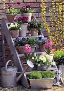 Escabeau utilisé comme support à pots de fleurs