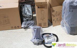 Contenu de l'emballage du spa gonflable bulles + jets Intex