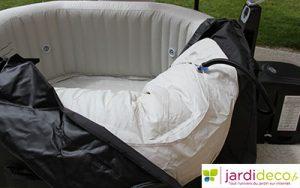 installer et utiliser le spa gonflable intex bulles jets avec sel. Black Bedroom Furniture Sets. Home Design Ideas