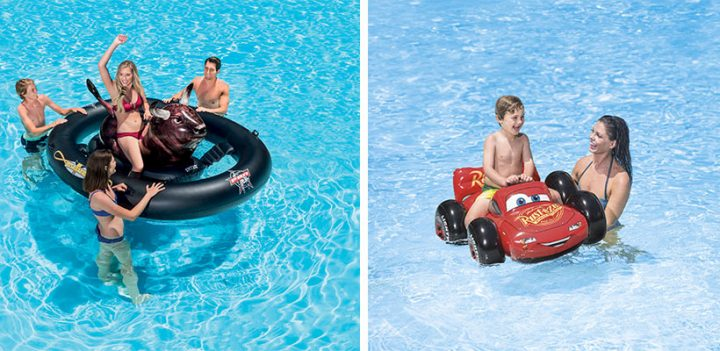 Les bouées chevauchables Intex pour adultes et enfants à la piscine