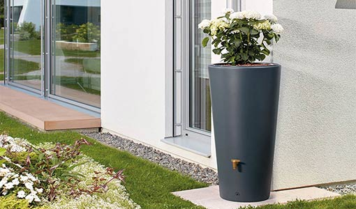 Récupérateur d'eau de pluie pot 2 en 1 220 L Taupe