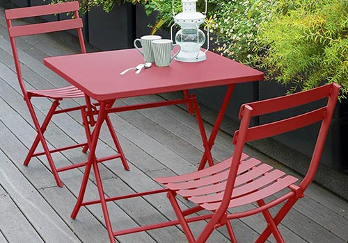 Table de jardin en acier époxy pour balcon