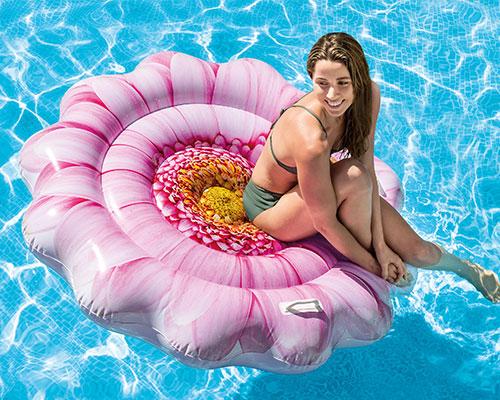 Matelas gonflable piscine fleur rose 58787