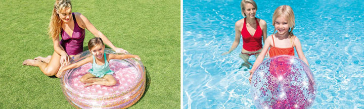 Piscinette et ballon gonflable Glitter Intex