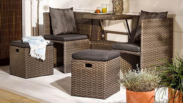 Ensemble de mobilier extérieur urbain en résine pour balcon